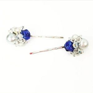 Vintage Upcycled Blue Bobby Hair Pins